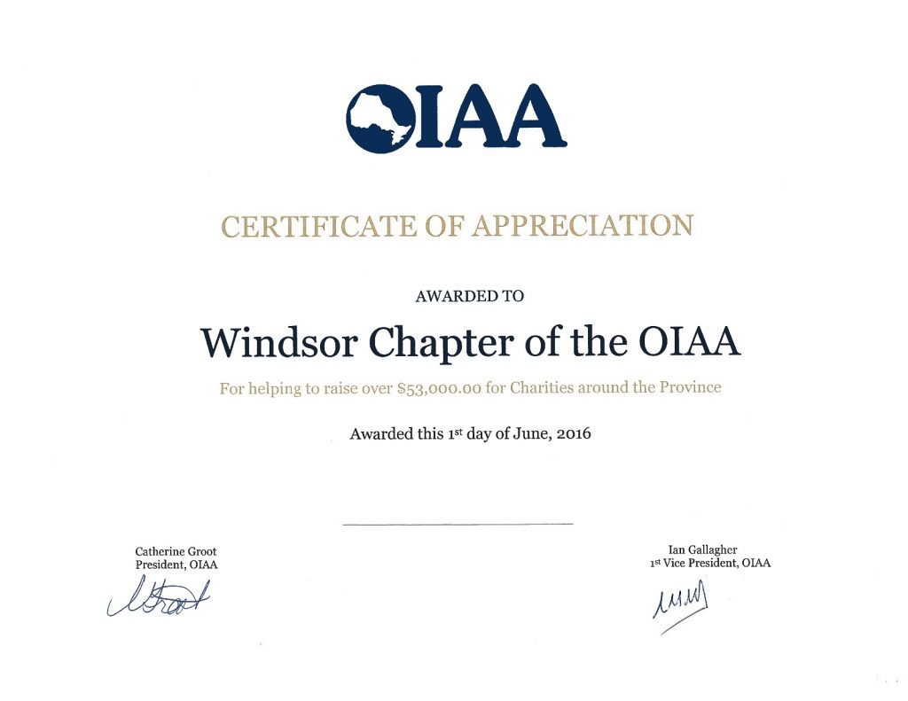 2015 OIAA Certificate of Appreciation