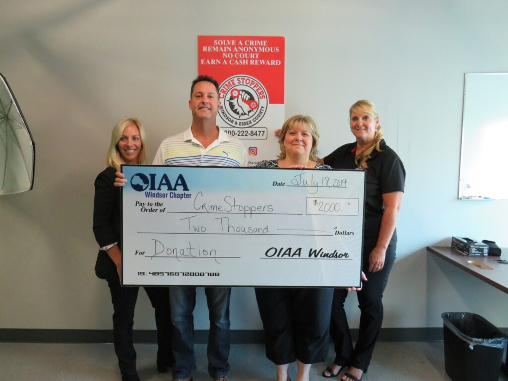2019 OIAA Golf Charity Donation to Crime Stoppers